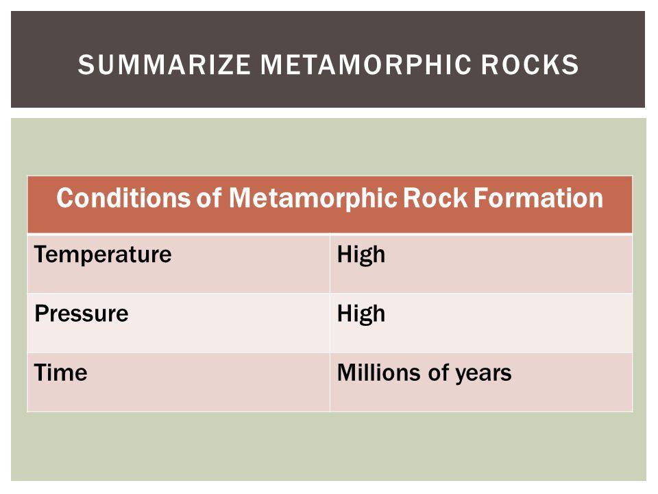 Summarize metamorphic Rocks