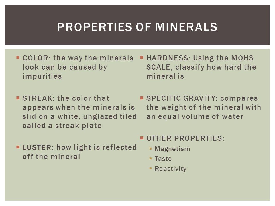 Properties of minerals