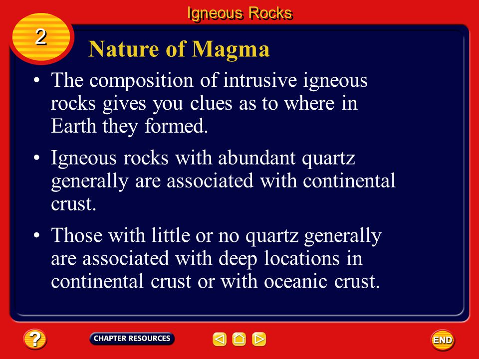 Igneous Rocks 2. Nature of Magma. The composition of intrusive igneous rocks gives you clues as to where in Earth they formed.