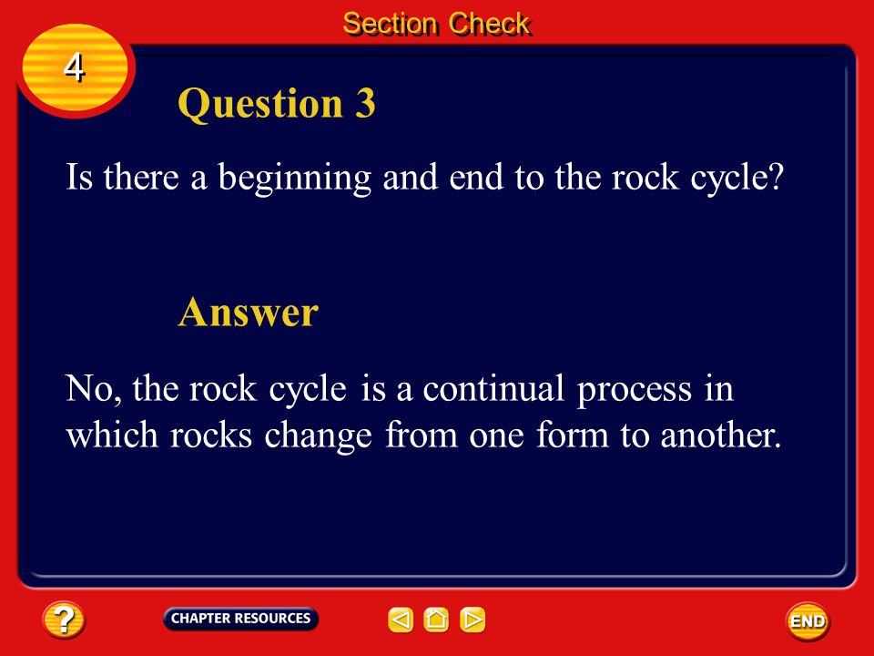 Question 3 Answer 4 Is there a beginning and end to the rock cycle