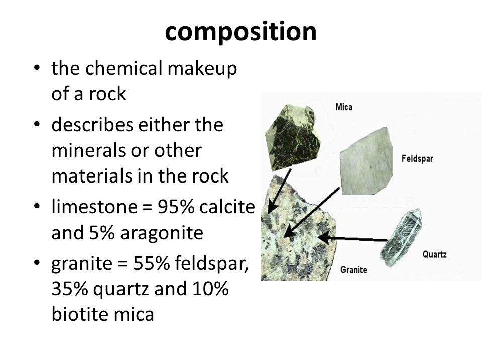 composition the chemical makeup of a rock