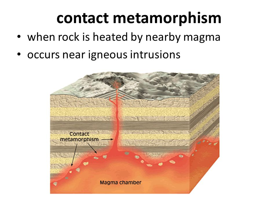 contact metamorphism when rock is heated by nearby magma