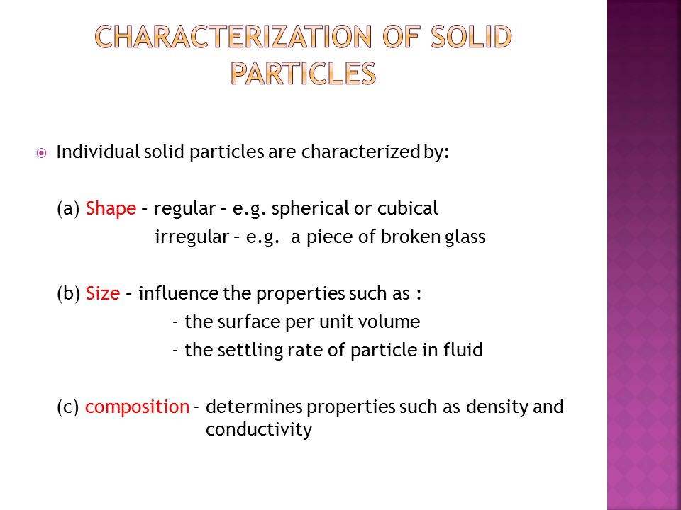 Characterization of solid particles