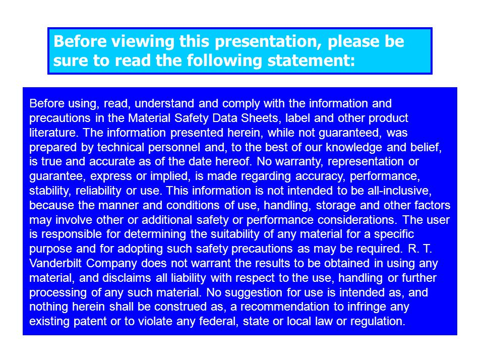 Before viewing this presentation, please be sure to read the following statement: