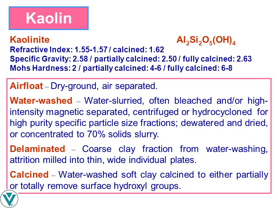 Kaolin Kaolinite Al2Si2O5(OH)4 Airfloat  Dry-ground, air separated.