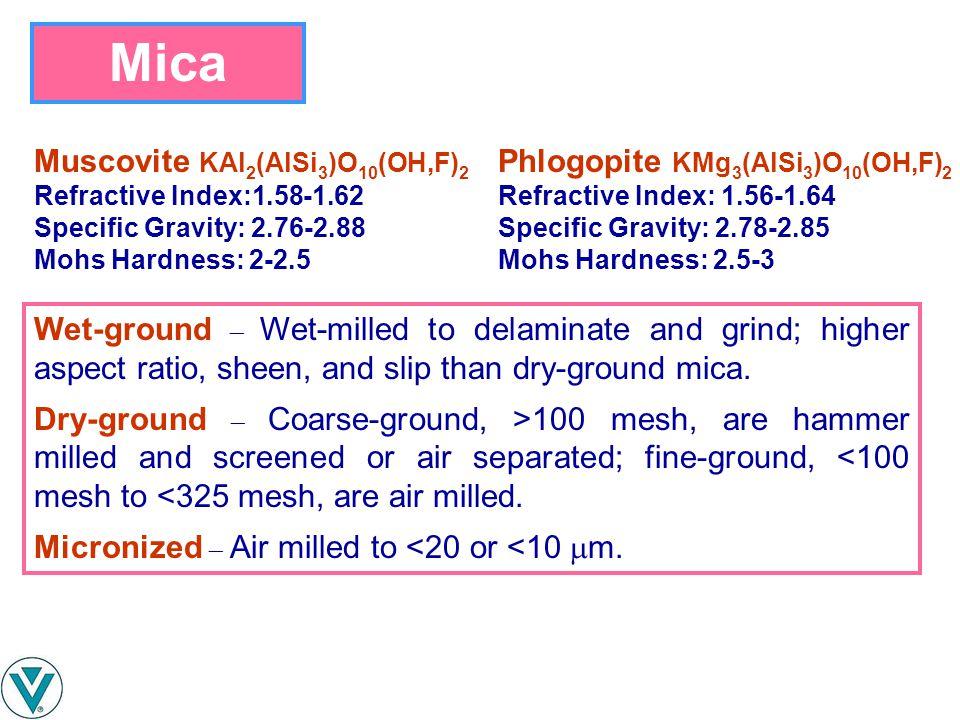 Mica Muscovite KAl2(AlSi3)O10(OH,F)2 Phlogopite KMg3(AlSi3)O10(OH,F)2