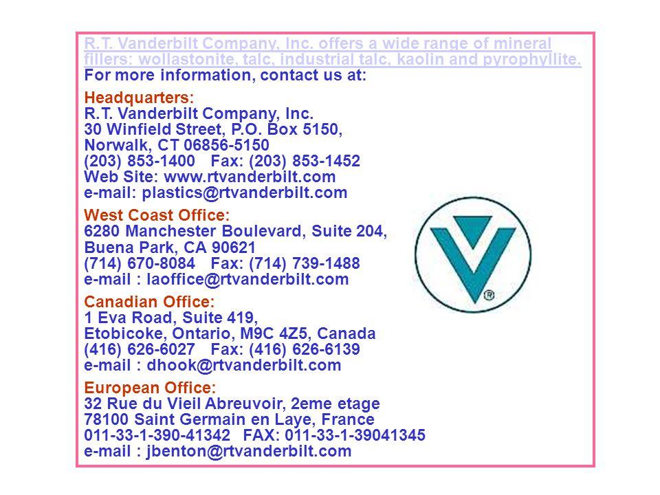 Web Site: www.rtvanderbilt.com e-mail: plastics@rtvanderbilt.com