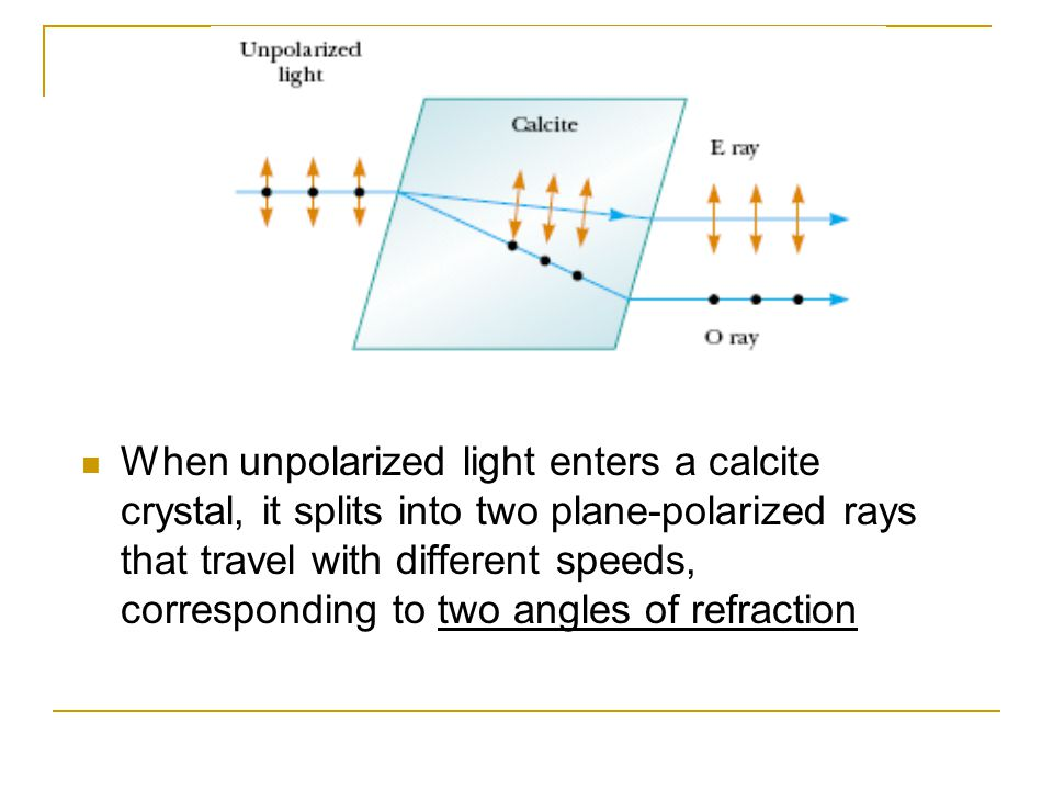 When unpolarized light enters a calcite crystal, it splits into two plane-polarized rays that travel with different speeds, corresponding to two angles of refraction