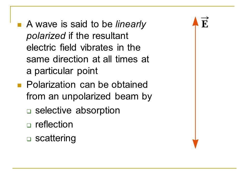 A wave is said to be linearly polarized if the resultant electric field vibrates in the same direction at all times at a particular point