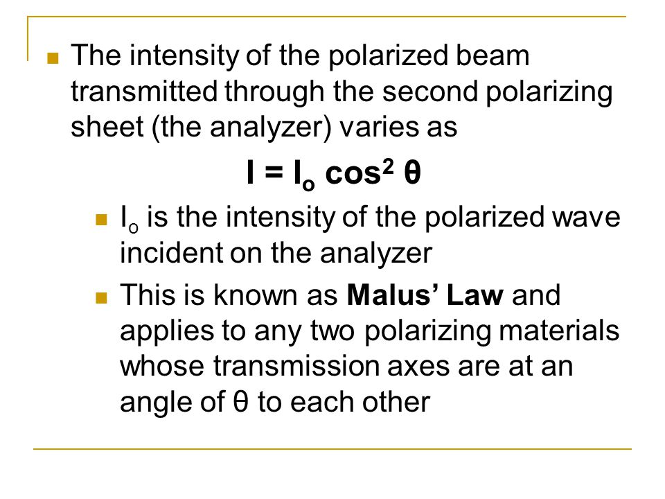 The intensity of the polarized beam transmitted through the second polarizing sheet (the analyzer) varies as