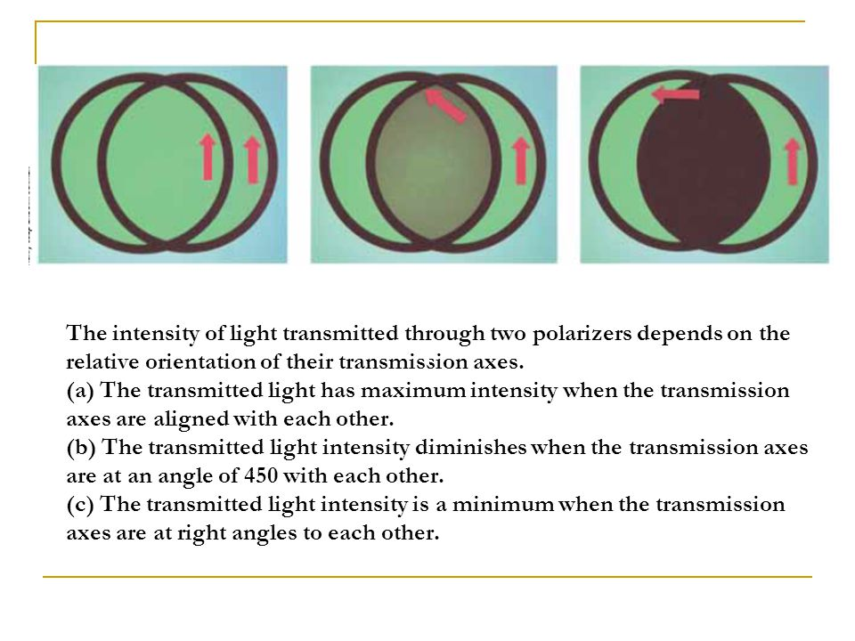 The intensity of light transmitted through two polarizers depends on the relative orientation of their transmission axes.