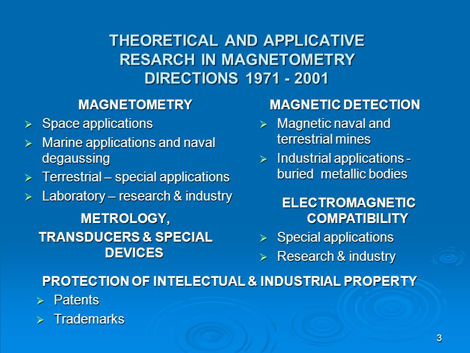 THEORETICAL AND APPLICATIVE RESARCH IN MAGNETOMETRY DIRECTIONS 1971 - 2001