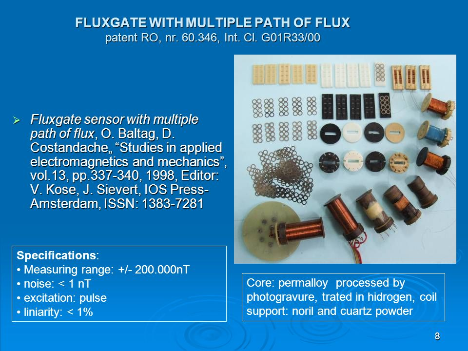 FLUXGATE WITH MULTIPLE PATH OF FLUX patent RO, nr. 60. 346, Int. Cl