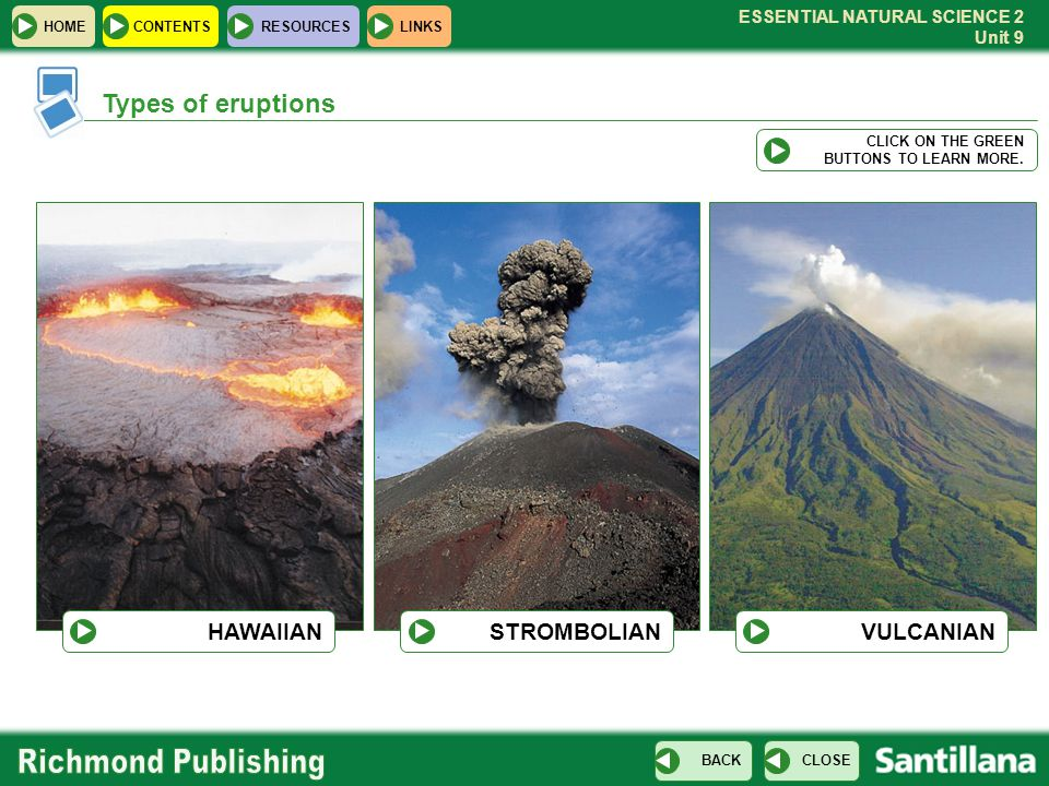 Types of eruptions HAWAIIAN STROMBOLIAN VULCANIAN CLICK ON THE GREEN