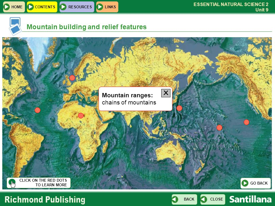 X Mountain building and relief features Mountain ranges: