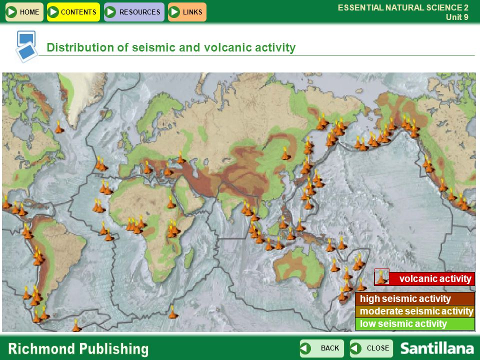 Distribution of seismic and volcanic activity