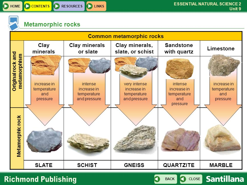 Metamorphic rocks Common metamorphic rocks Clay minerals or slate