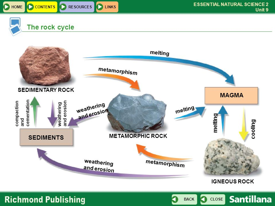 The rock cycle MAGMA SEDIMENTS melting metamorphism SEDIMENTARY ROCK