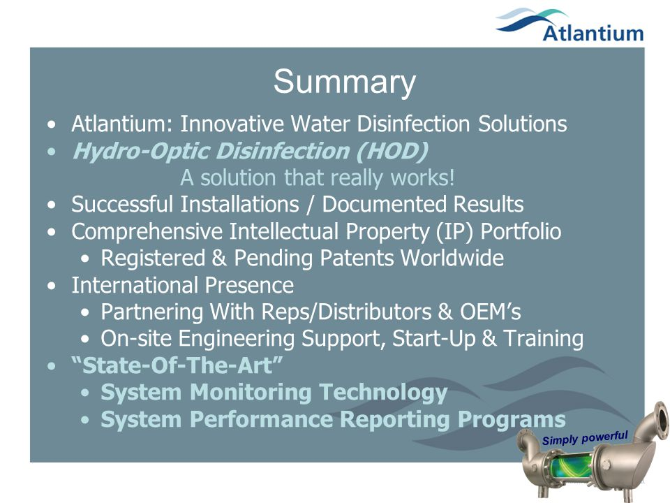 Summary Atlantium: Innovative Water Disinfection Solutions