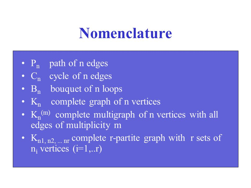 Nomenclature Pn path of n edges Cn cycle of n edges