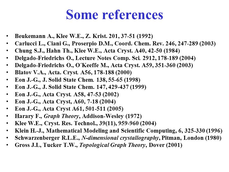 Some references Beukemann A., Klee W.E., Z. Krist. 201, 37-51 (1992)