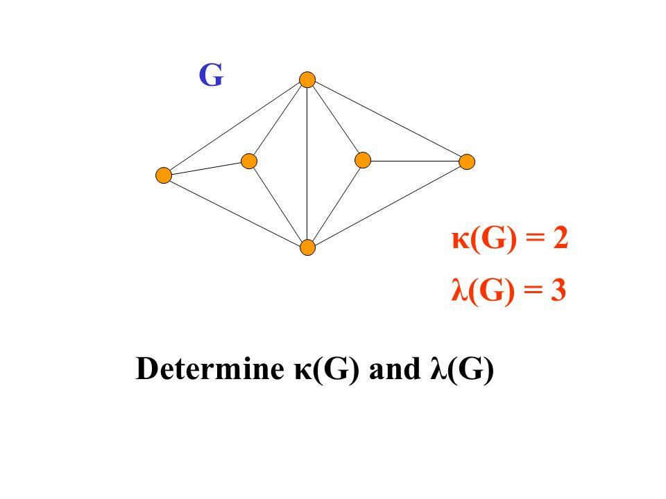 G κ(G) = 2 λ(G) = 3 Determine κ(G) and λ(G)