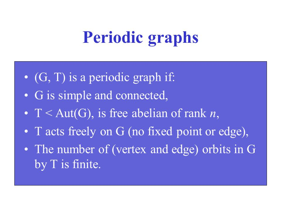 Periodic graphs (G, T) is a periodic graph if: