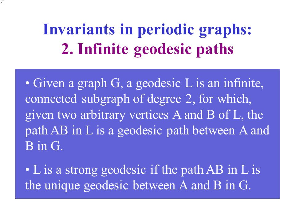Invariants in periodic graphs: 2. Infinite geodesic paths