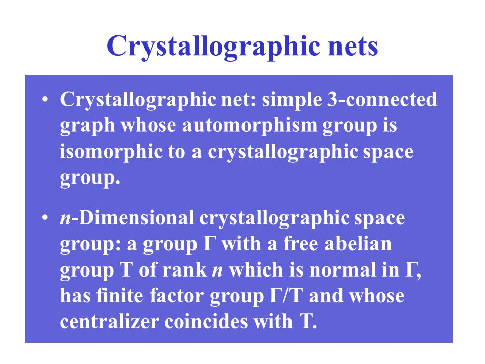 Crystallographic nets