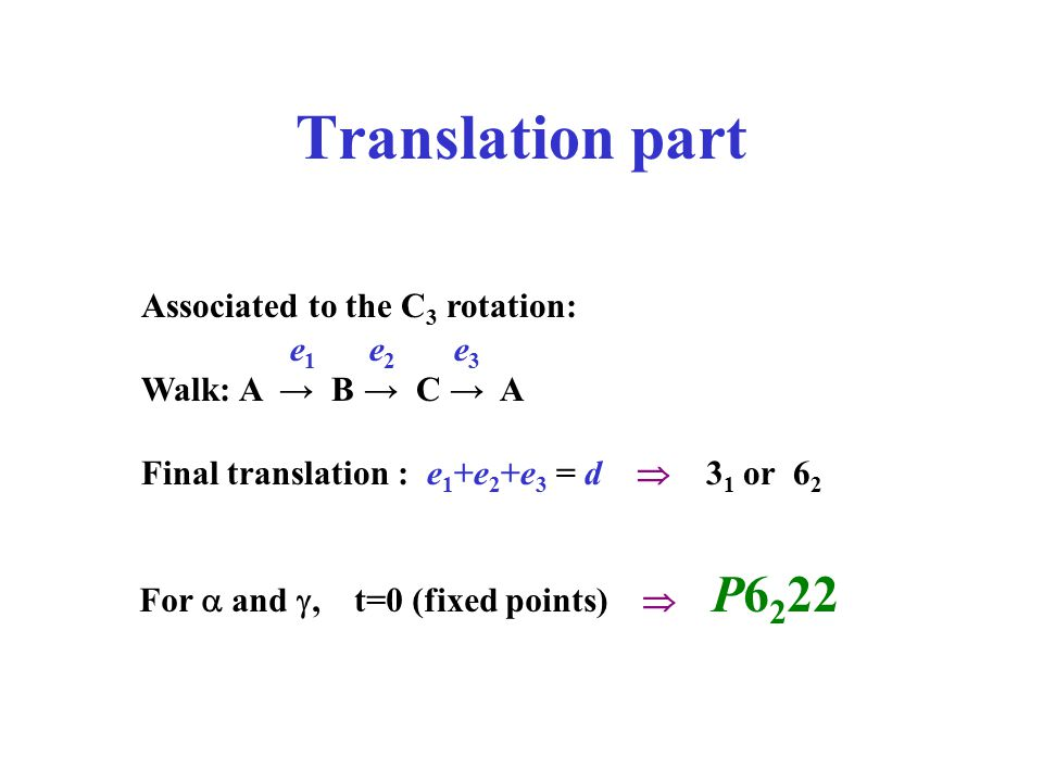 Translation part Associated to the C3 rotation: Walk: A → B → C → A