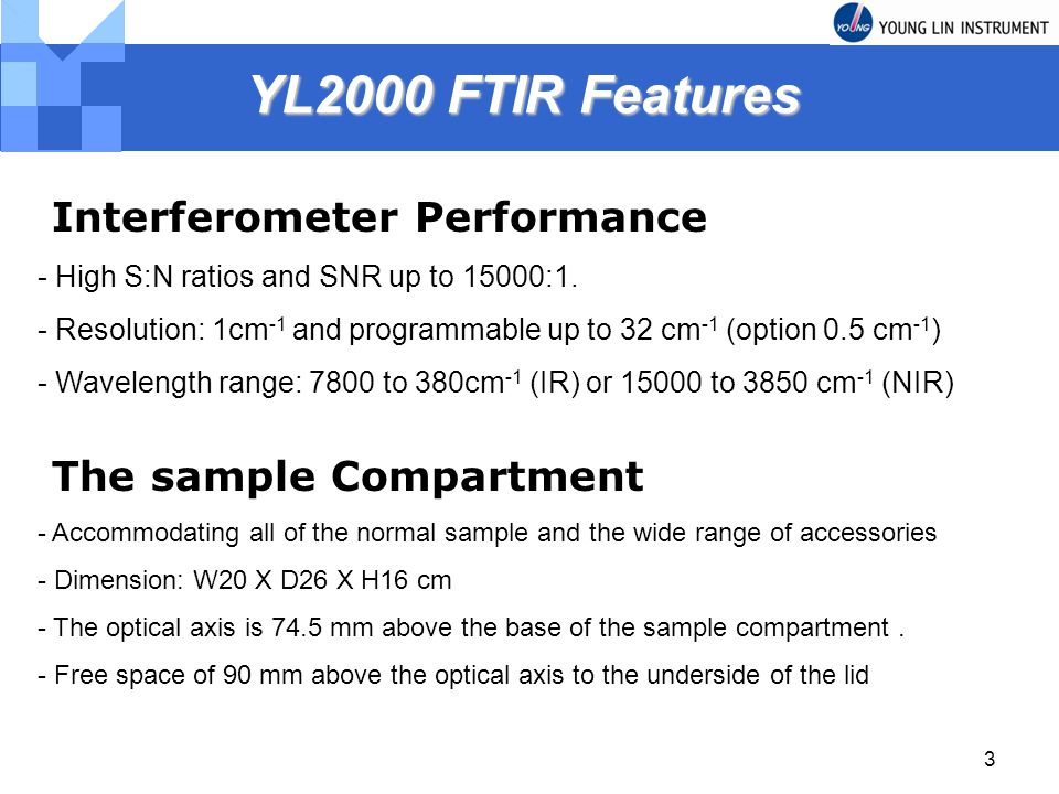 YL2000 FTIR Features Interferometer Performance The sample Compartment