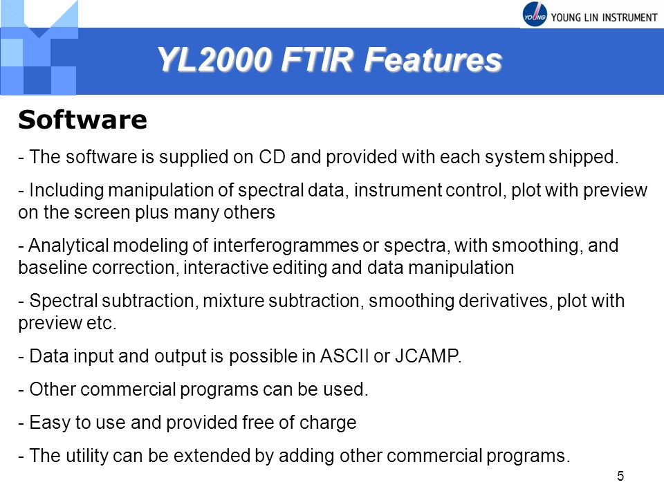 YL2000 FTIR Features Software