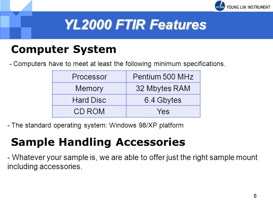 YL2000 FTIR Features Computer System Sample Handling Accessories