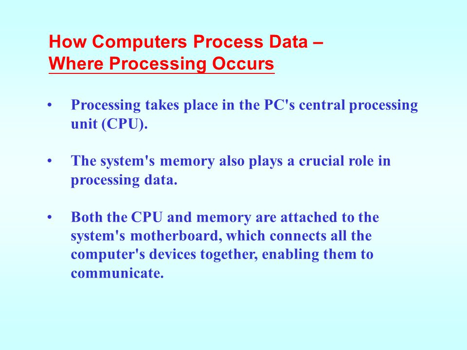 How Computers Process Data – Where Processing Occurs