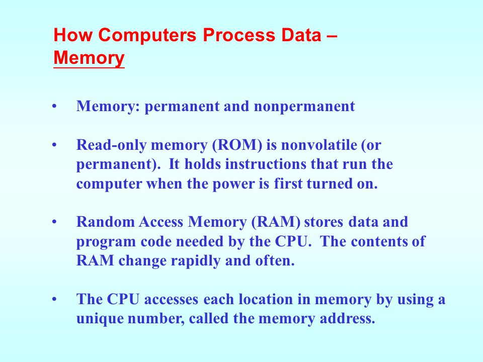 How Computers Process Data – Memory