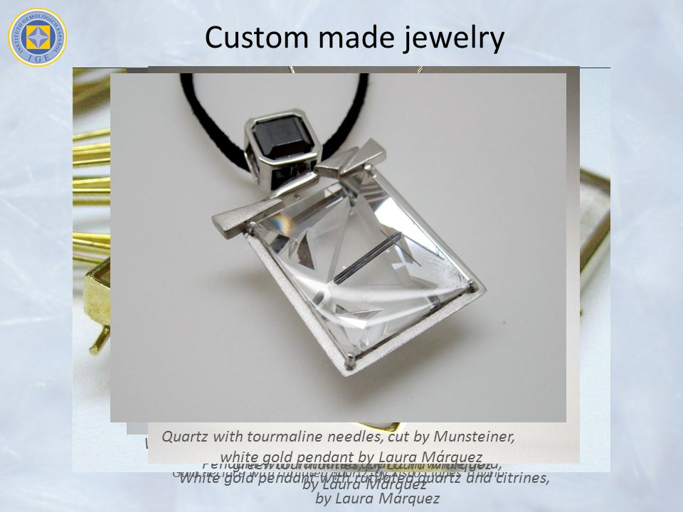 Custom made jewelry White gold pendant with quartz with epidote inclusions and green tourmalines, by Laura Márquez.