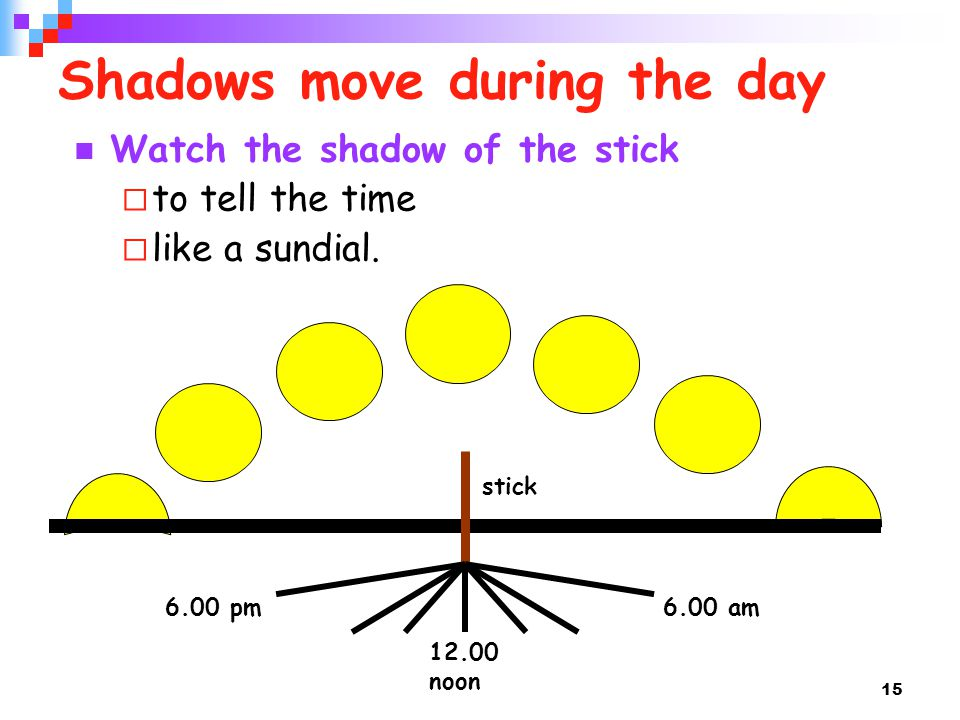 Shadows move during the day