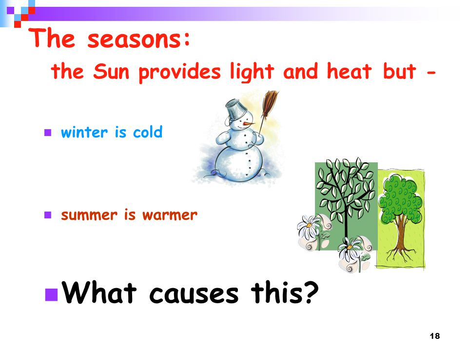 The seasons: the Sun provides light and heat but -