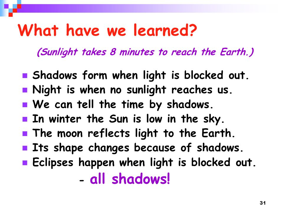 What have we learned (Sunlight takes 8 minutes to reach the Earth.)