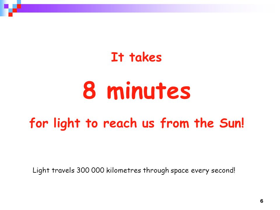 It takes 8 minutes for light to reach us from the Sun!