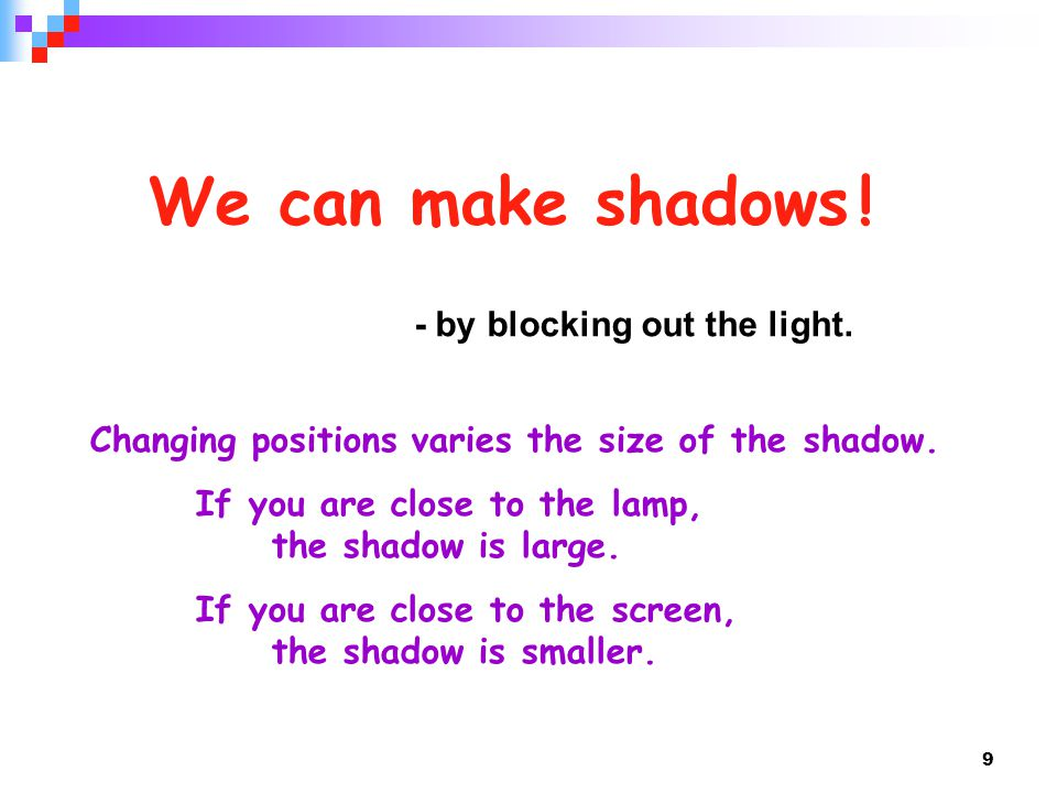 We can make shadows ! - by blocking out the light.