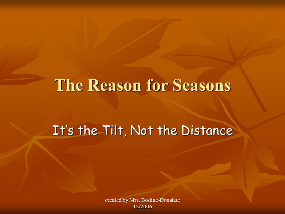 It's the Tilt, Not the Distance