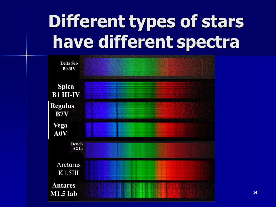 Different types of stars have different spectra