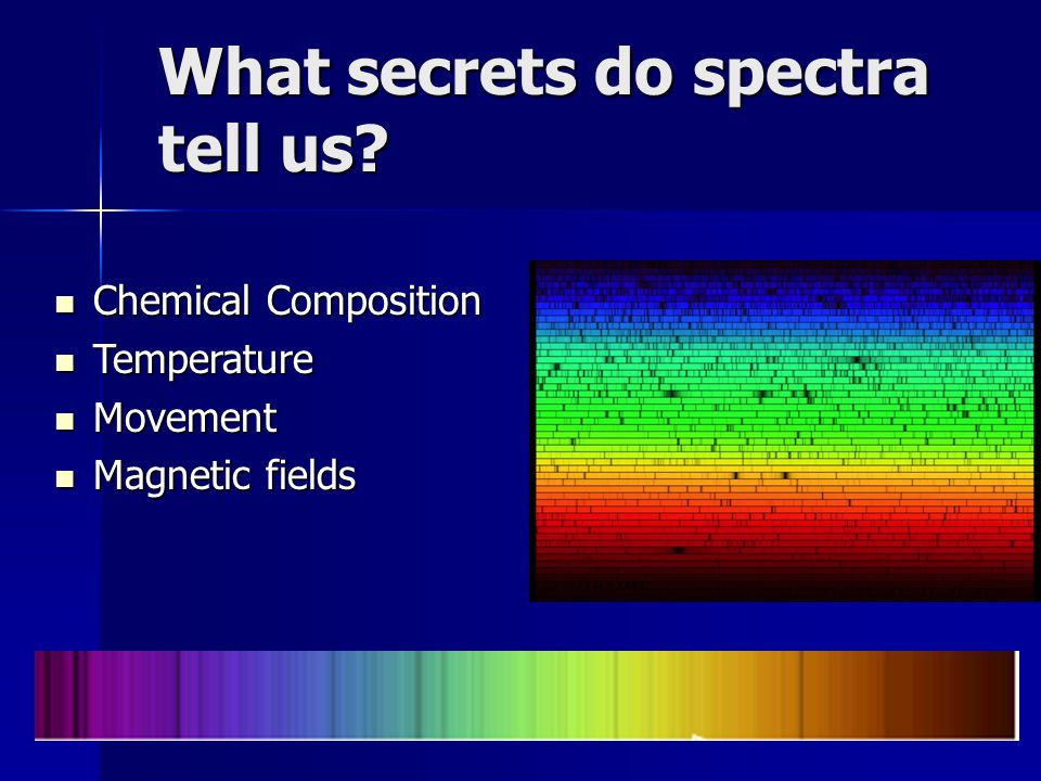 What secrets do spectra tell us