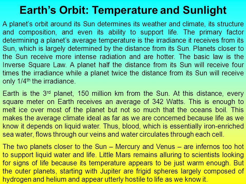 Earth's Orbit: Temperature and Sunlight