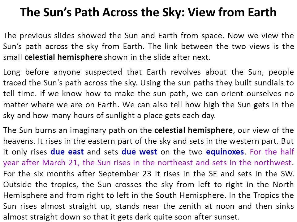 The Sun's Path Across the Sky: View from Earth