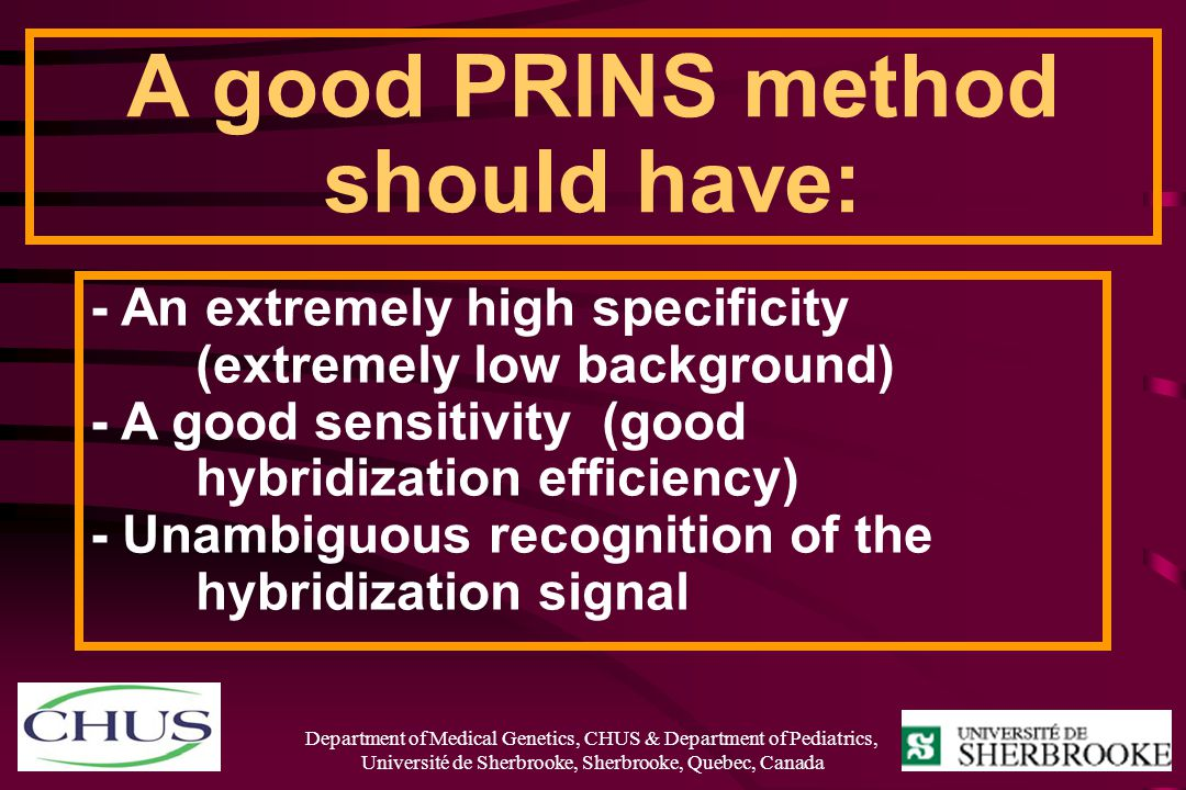 A good PRINS method should have: