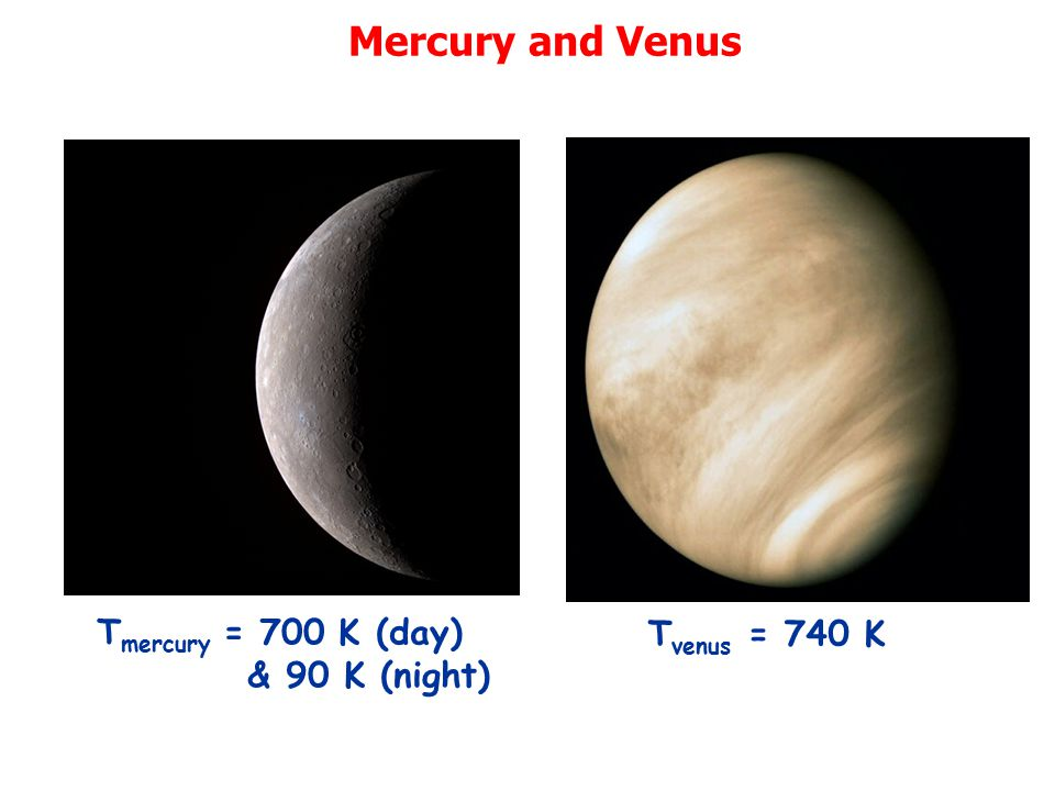 Mercury and Venus Tmercury = 700 K (day) & 90 K (night) Tvenus = 740 K