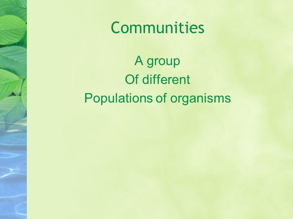 Populations of organisms