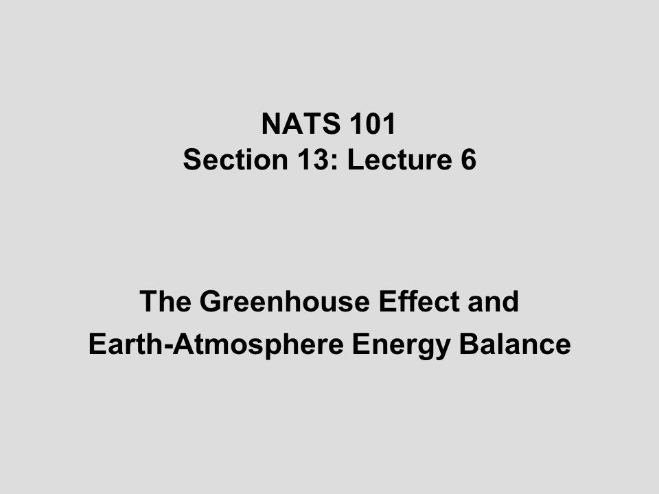 The Greenhouse Effect and Earth-Atmosphere Energy Balance